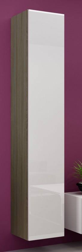 Vitrína Vigo - Vitrína závesná 180, 1x dvere (dub sonoma/biela lesk)