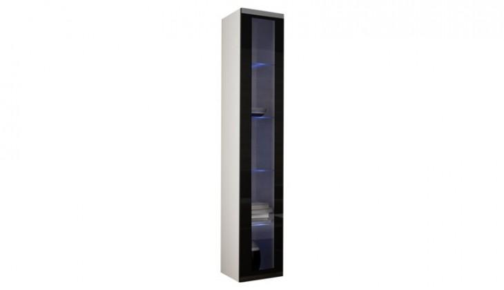 Vitrína Vigo - Vitrína závesná 180, 1x dvere sklo (biela mat/čierna VL)