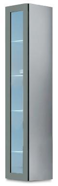 Vitrína Vigo - Vitrína závěsná 180, 1x dvere sklo (biela/sivá lesk)