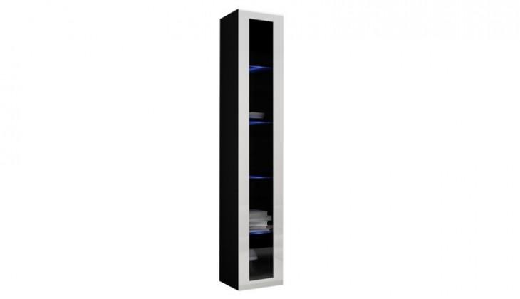 Vitrína Vigo - Vitrína závesná 180, 1x dvere sklo (čierna mat/biela VL)