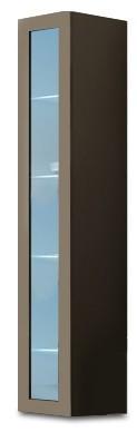 Vitrína Vigo - Vitrína závěsná 180, 1x dvere sklo (latte/latte lesk)