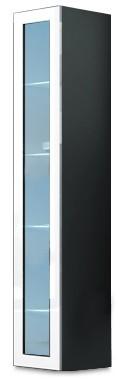 Vitrína Vigo - Vitrína závěsná 180, 1x dvere sklo (sivá/biela lesk)