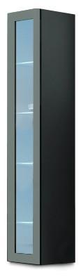 Vitrína Vigo - Vitrína závěsná 180, 1x dvere sklo (sivá/sivá lesk)