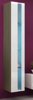 Vitrína Vigo - Vitrína závesná 180,dvere bez skla (dub sonoma/biela lesk)