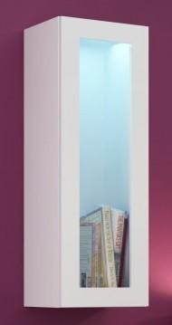 Vitrína Vigo - Vitrína závesná, 1x dvere sklo (biela mat/biela VL)