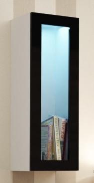 Vitrína Vigo - Vitrína závesná, 1x dvere sklo (biela mat/čierna VL)