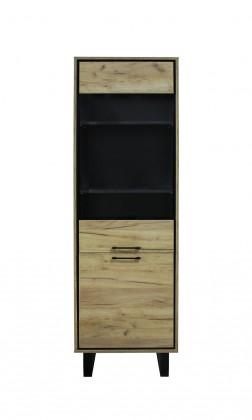 Vitrína Vitrína Brick (1 zásuvka, dvierka, dub, čierna)