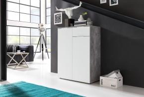 Viva - Obývacia komoda malá (cement sivá/biela)
