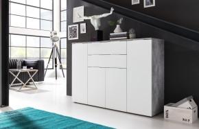 Viva - Obývacia komoda veľká (cement sivá/biela)