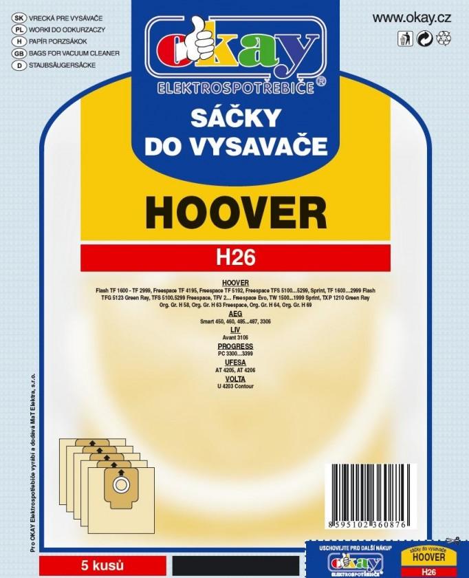 Vrecká do vysávača  Sáčky do vysavače H26