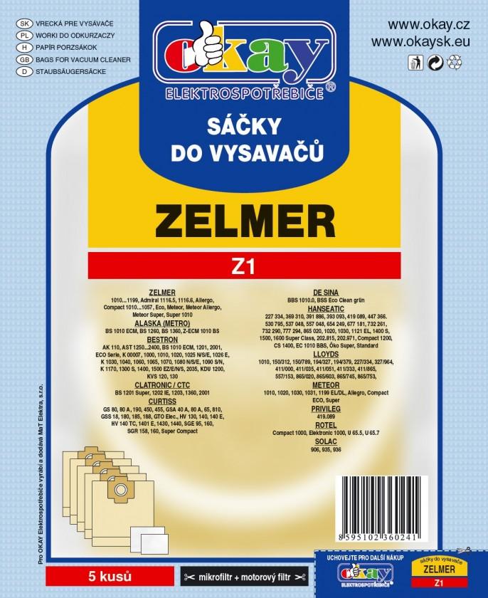 Vrecká do vysávača Sáčky do vysavače Z1 10 ks