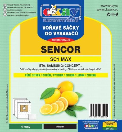 Vrecká do vysávača Sencor MAXSC1, vôňa citrón, 4ks