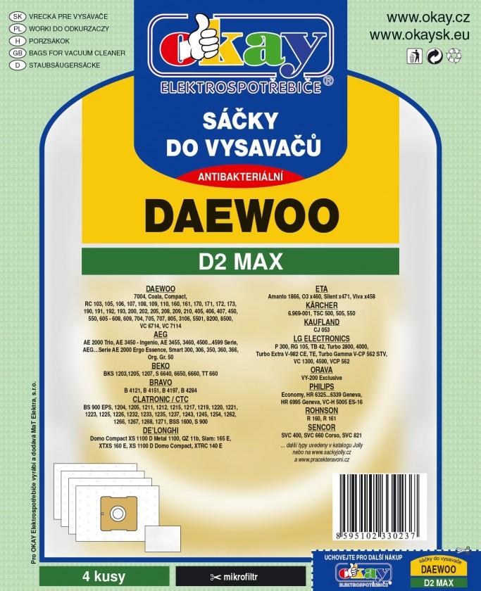 Vrecká do vysávača Vrecka do vysávača Daewoo D2 MAX 8ks