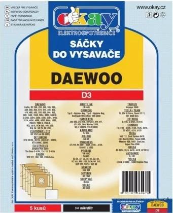 Vrecká do vysávača Vrecká do vysávača Daewoo D3, 5ks