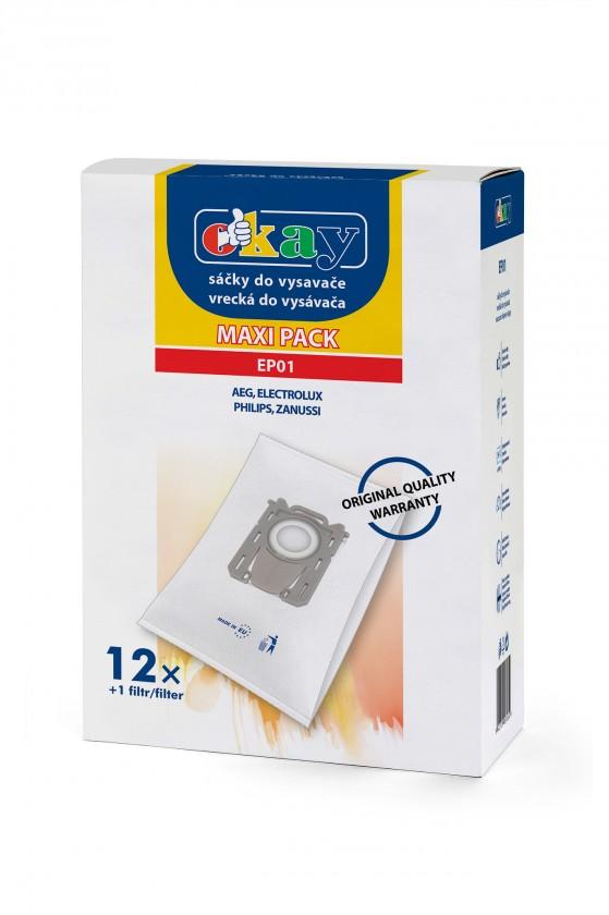 Vrecká do vysávača Vrecká do vysávača Electrolux EP01 S-bag, 12 + 1x filter