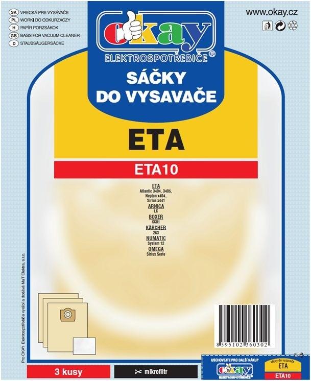 Vrecká do vysávača Vrecká do vysávača Eta ETA 10, 6ks