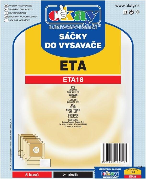 Vrecká do vysávača Vrecká do vysávača Eta ETA 18, 10ks