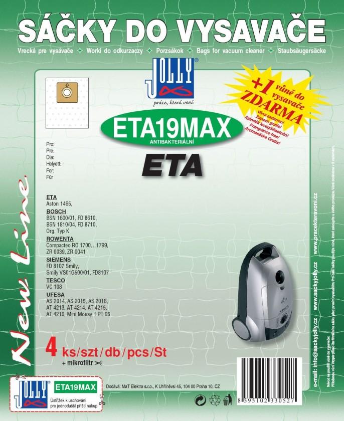 Vrecká do vysávača Vrecká do vysávača Eta ETA 19 MAX, 8ks