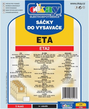 Vrecká do vysávača Vrecká do vysávača Eta ETA 2, 10ks