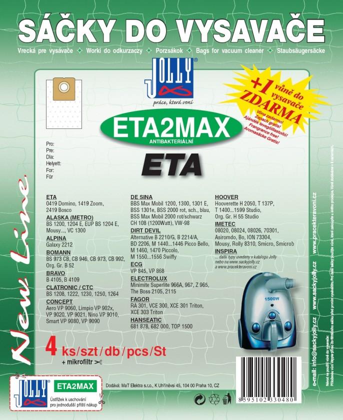 Vrecká do vysávača Vrecká do vysávača Eta ETA 2 MAX, 8ks