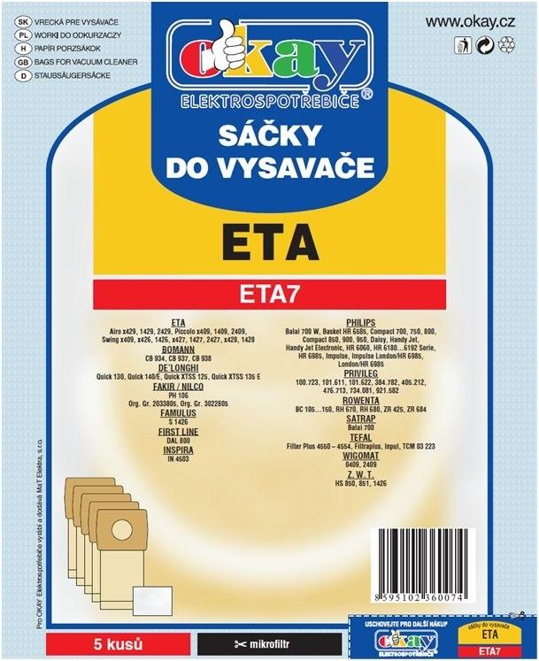 Vrecká do vysávača Vrecká do vysávača Eta ETA 7, 10ks