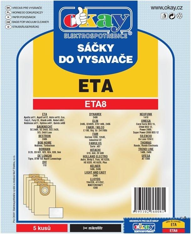 Vrecká do vysávača Vrecká do vysávača Eta ETA 8, 10ks