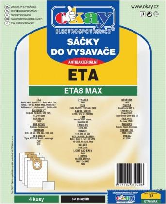Vrecká do vysávača Vrecká do vysávača Eta ETA 8 MAX, antibakteriálne, 8ks