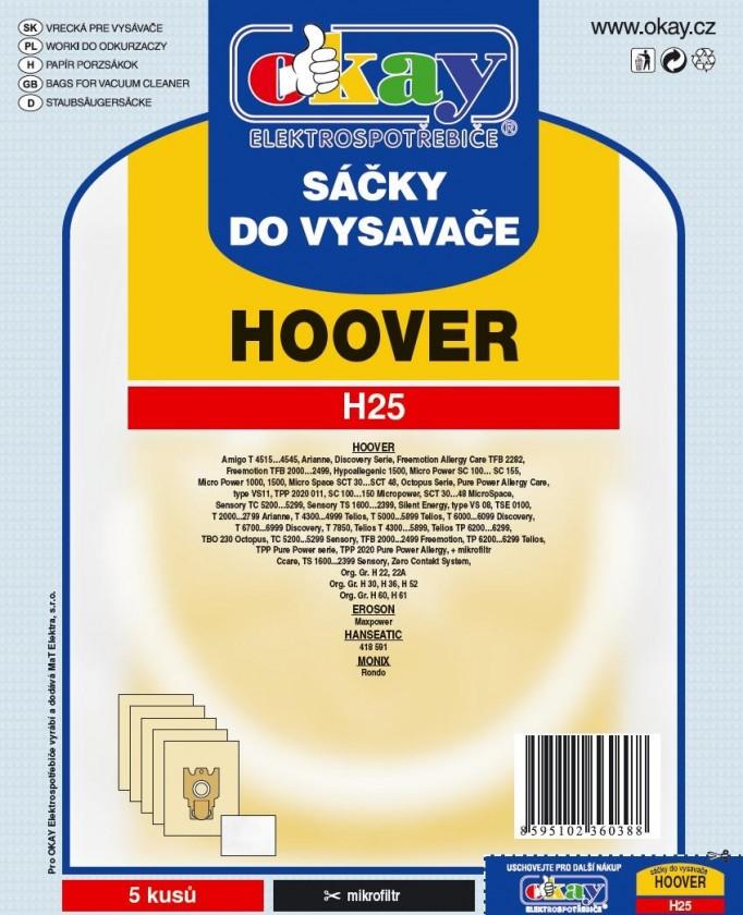 Vrecká do vysávača Vrecká do vysávača Hoover H25, 10ks