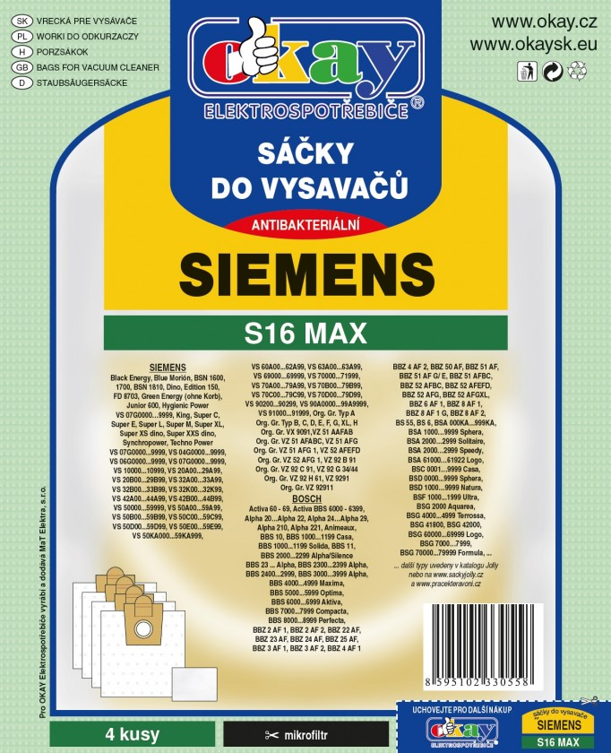 Vrecká do vysávača Vrecká do vysávača Siemens S16MAX, 4ks
