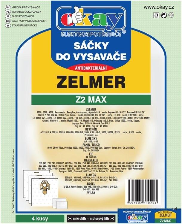 Vrecká do vysávača Vrecka do vysávača Zelmer Z2 MAX 8ks