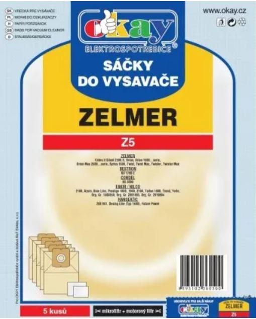 Vrecká do vysávača Vrecká do vysávača Zelmer Z5, 5ks