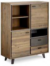 Vysoká komoda Mety (2x zásuvka, 2x dvere, drevo, hnedá)