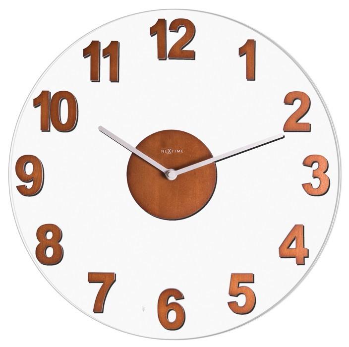 Woody - hodiny, nástenné, guľaté (sklo, drevo, hnedé)