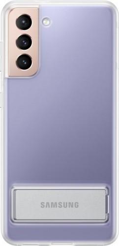 Zadný kryt na Samsung S21, integrovaný stojanček, priehľadný