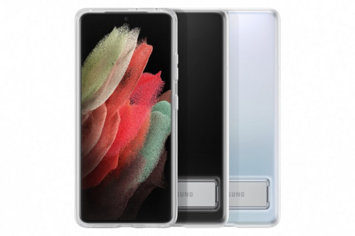 Zadný kryt Samsung S21 Ultra, integrovaný stojanček, priehľadný