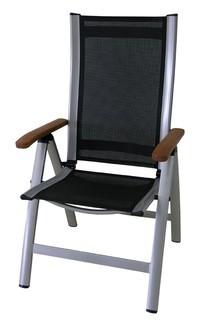 Záhradné kreslo Comfort - Polohovací kreslo (strieborná, čierna)