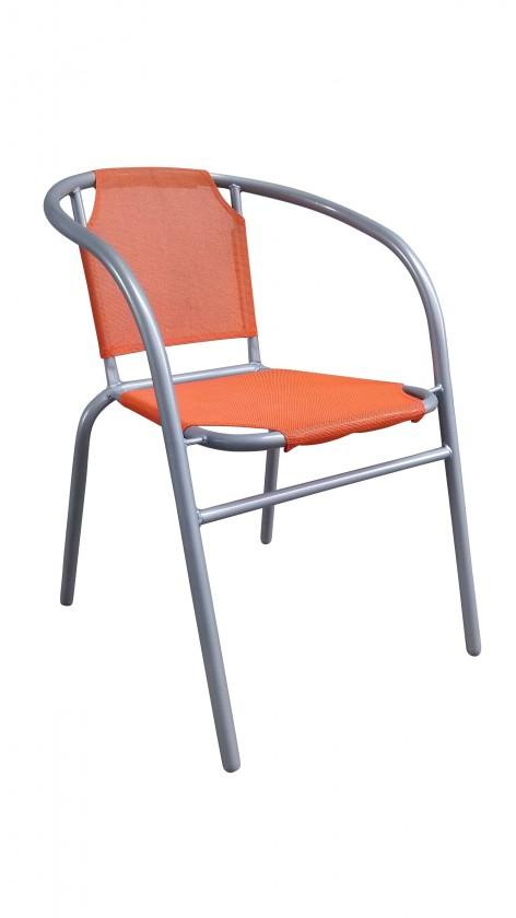 Záhradné kreslo Ocelové kresielko textilen (oranžová)