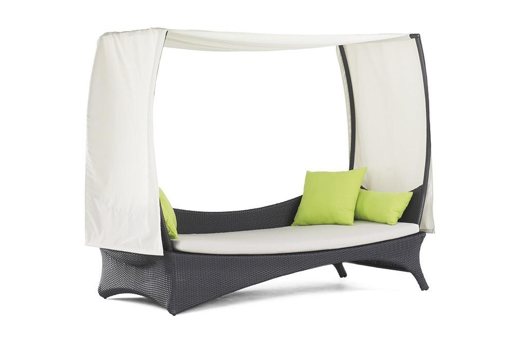 Záhradné lehátko Monterey - Denná posteľ (sivá, biela)