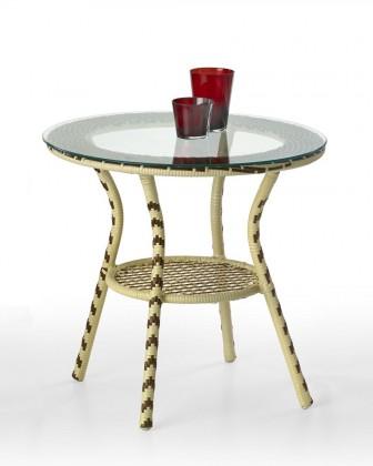 Záhradný stôl Fleming (hnedo-béžový / číre sklo)