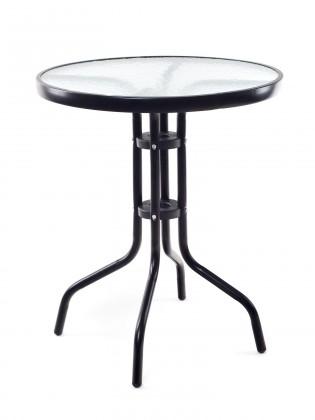 Záhradný stôl Stolík kovový so sklenenou doskou (čierna)