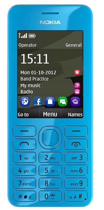 Základný telefón Nokia 206 (Dual SIM) Cyan