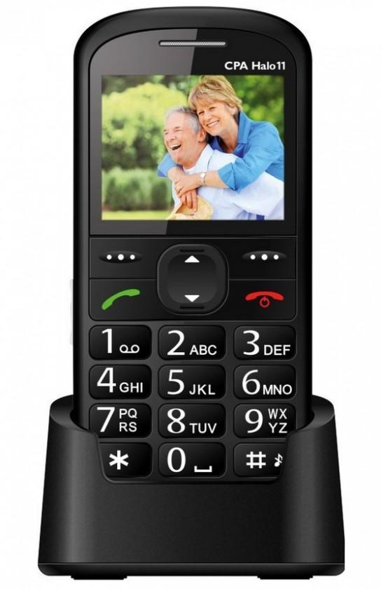 Základný telefón Tlačidlový telefón pre seniorov CPA HALO 11, čierna