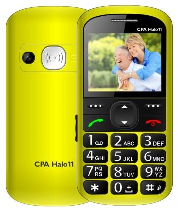 Základný telefón Tlačidlový telefón pre seniorov CPA HALO 11, žltá