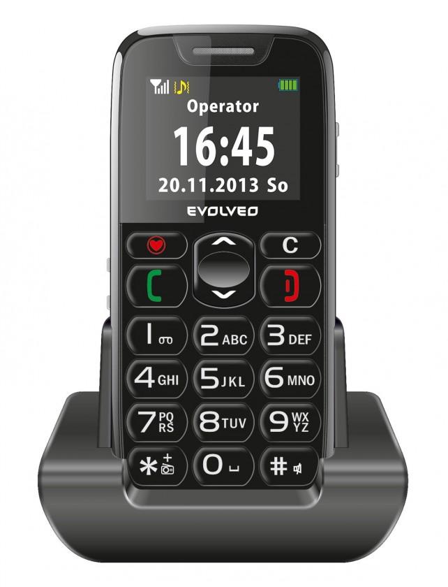 Základný telefón Tlačidlový telefón pre seniorov Evolveo EasyPhone EP-500, čierna