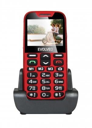 Základný telefón Tlačidlový telefón pre seniorov Evolveo EasyPhone XD, červená