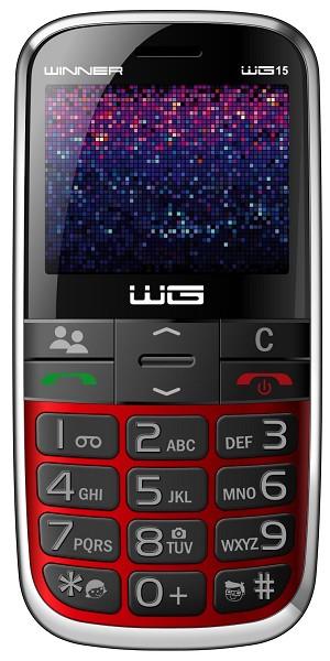 Základný telefón Tlačidlový telefón pre seniorov Winner WG15, červená