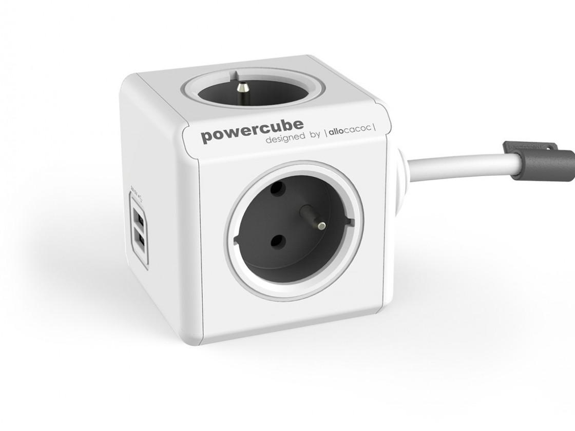 Zásuvky, rozdvojky Napájací adaptér PowerCube Extended 4 zásuvky, 2x USB, 1,5m