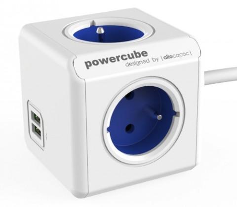 Zásuvky, rozdvojky Napájací adaptér PowerCube Extended 4 zásuvky, 2x USB blue, 1,5m