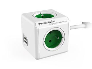 Zásuvky, rozdvojky PowerCube Extended USB GREEN
