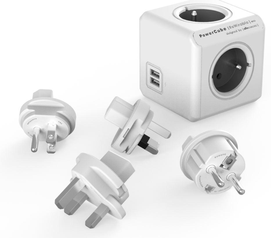 Zásuvky, rozdvojky PowerCube REWIRABLE USB + Travel Plugs rozbočka 4 zásuvka